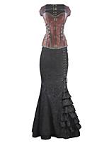 Burvogue Women's Steel Boned Bustier Overbust Steampunk Corset Dress Tops
