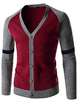 Hot Sale Men's Casual/Daily Simple Regular Cardigan / Gray Shirt Collar Long Sleeve Cotton Fall / Winter Medium Micro-elastic