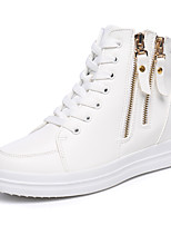 Women's Sneakers Spring Summer Fall Winter Platform Creepers Leatherette Office & Career Casual Platform Chain Lace-up Black White Walking