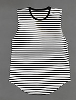 Men's Striped Casual Tank Tops,Cotton Sleeveless-Black