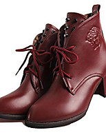 Women's Boots Spring / Summer / Fall Combat Boots PU Casual Chunky Heel Rivet Black / Burgundy Others