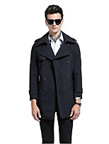 Men's Solid Casual / Work Trench coat,Polyester Long Sleeve-Black / Beige