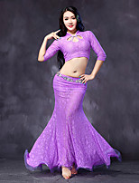Belly Dance Outfits Women's Performance Lace Lace / Ruffles 2 Pieces Black / Fuchsia / Purple / Royal Blue No Belt