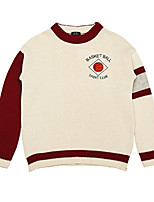 Women's Casual/Daily Street chic Regular Pullover,Color Block White Round Neck Long Sleeve Cotton All Seasons Medium