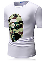 Men's Print Casual / Sport T-ShirtPolyester / Nylon Short Sleeve-Black / Blue / Green / Multi-color / White