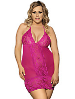 Women Lace Perspective Sexy Lingerie Rose Red V-neck Mesh Nightwear