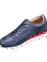 Men's Flats Spring / Fall Round Toe PU Casual Flat Heel Others / Lace-up Blue / Gray Others