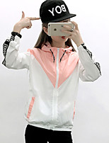 Women's Casual/Daily Simple Spring Jackets,Color Block Hooded Long Sleeve Blue / Pink / Black / Gray Polyester Medium