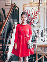 Maternity Casual/Daily Simple Loose Dress,Solid Round Neck Above Knee Long Sleeve Pink / Red / Green Polyester Summer