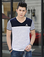 Men's Striped Casual / Sport / Plus Sizes T-Shirt,Modal Short Sleeve-Blue / Red / White / Gray