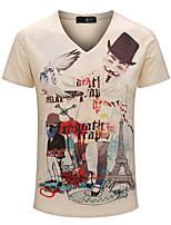 Print-Informeel / Sport / Grote maten-Heren-Katoen-T-shirt-Korte mouw Geel