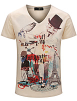 Men's Print Casual / Sport / Plus Size T-Shirt,Cotton Short Sleeve-Yellow