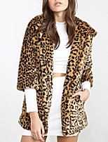 Women's Plus Size / Party/Cocktail Simple Fur Coat,Leopard Stand Long Sleeve Fall / Winter Brown Acrylic Thick