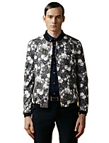 Men's Long Sleeve Casual / Work / Sport Jacket,Rayon / Polyester Floral Green