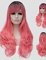 Pink micro volume long hair and the wind nightclub performances Street color million with a partial wig.