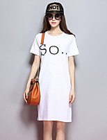 Sybel Women's Going out  / Cute / Street chic Loose / T Shirt Dress,Solid / Print Round NeckKnee-length / Above