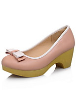 Women's Pull-on Round Closed Toe Kitten-Heels PU Pumps-Shoes