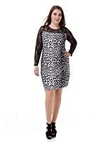 Women's Plus Size Leopard Dress Large Size Print Casual Club Dress Fashion Party Dress