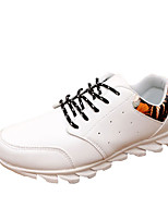 Men's Sneakers Spring / Fall Comfort Synthetic / PU Casual Flat Heel Lace-up Black / White Walking