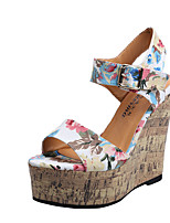 Women's Sandals Summer Wedges Fabric Casual Wedge Heel Others Black / White Walking