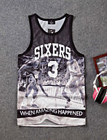 Men's Print Sport Tank Tops,Cotton Sleeveless-Black