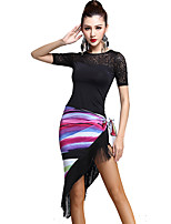 Latin Dance Outfits Women's Training Rayon Tassel(s) 2 Pieces Black Latin Dance Half Sleeve Natural Top / Scarf