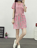 Women's Casual/Daily Simple A Line Dress,Striped Round Neck Above Knee Short Sleeve Red / Black Polyester Summer