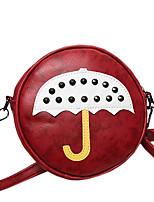 Women PU Casual Circular Stitching Cartoon Rivet Umbrella Printing Shoulder Key Holder Cosmetic Mobile Phone Bag