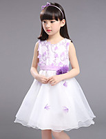 Girl's Casual/Daily Solid DressCotton / Others Summer Pink / Purple