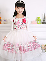 Girl's Cotton Spring/Autumn Fashion Long Sleeve Lace Princess Dress Cute Style Party Dress