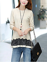 Women's Casual/Daily Simple Regular Cardigan,Solid  Round Neck Long Sleeve Cotton Fall / Winter Medium