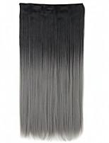1pc 5clips gradiente clip de rampa de color en las extensiones de cabello postizos sintéticos cortar recta 60cm 24inch ombre negro-gris