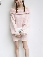 Women's Going out Vintage / Simple Regular Pullover,Solid Pink / Green Boat Neck Long Sleeve Cotton Fall Medium Micro-elastic
