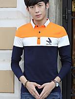 Men's Long Sleeve PoloCotton Casual / Plus Size Patchwork