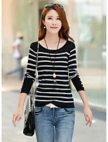 Women's Casual/Daily Simple Regular Cardigan,Striped Round Neck Long Sleeve Cotton Spring / Fall Medium