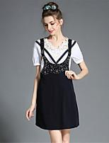 Plus Size Women Retro Lace Bead Blouse Braces Dress Two Piece Set