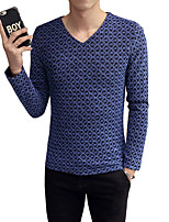 Men's Solid Casual T-Shirt,Cotton / Polyester Long Sleeve-Black / Blue / Red / Yellow / Gray NSCQ-SZ-CT7912