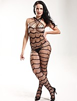 Women Black Perspective Hook Wire Mesh Fishnets knitting  Conjoined Stockings Lingerie