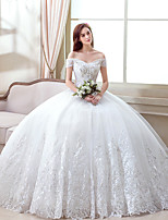 A-line Wedding Dress Floor-length Off-the-shoulder Organza with Pattern