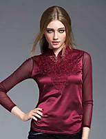 JOJ Women's Work Sophisticated Spring ShirtSolid Round Neck Long Sleeve Rayon Translucent