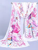 Women's Chiffon Butterfly Print Scarf,Yellow/Pink/Blue/white