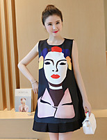 Maternity Casual/Daily Simple Loose Dress,Print Round Neck Above Knee Sleeveless Black Others Summer