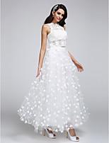 A-라인 웨딩 드레스 발목 길이 쥬얼리 레이스 / 튤 와 꽃장식 / 레이스