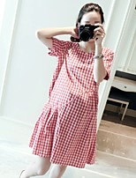 Maternity Casual/Daily Simple Loose Dress,Houndstooth Round Neck Above Knee Short Sleeve Red Cotton Summer