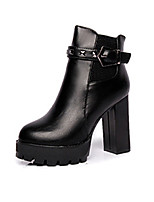 Women's Boots Spring / Fall / Winter Heels Leather Office & Career / Casual Chunky Heel Rivet Black Walking