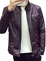Winter men slim short motorcycle leather collar Korean Pu thin youth leisure jacket men skin set tide