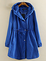 Women's Casual/Daily Plus Size / Simple Trench Coat,Solid Hooded Long Sleeve Fall Blue / Black / Green Cotton Medium