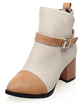 Women's Boots Fashion Boots / Round Toe Leatherette Office & Career / Dress / Casual Chunky Heel Buckle / Zipper