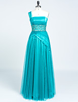 Formal Evening Dress A-line One Shoulder Floor-length Satin / Tulle with Appliques / Beading / Lace / Pleats