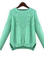 Women's Plus Size Simple Regular Pullover,Striped Blue / Green / Yellow Round Neck Long Sleeve Polyester Fall / Winter